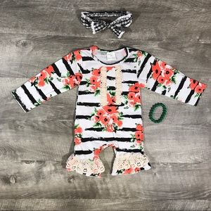 Baby girls boutique floral stripe & lace romper
